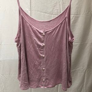pink american eagle button tank